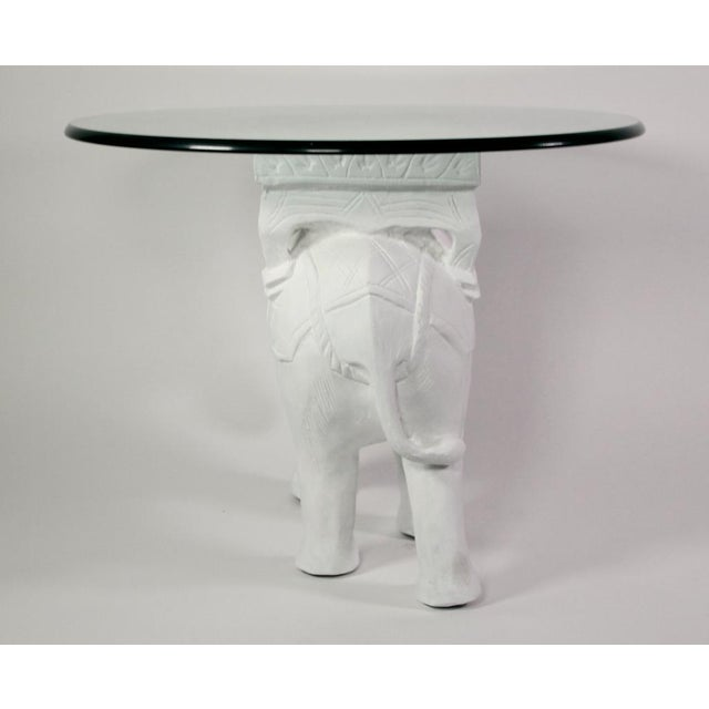 White 1970s Hollywood Regency White Gesso Solid Teak Elephant Side Table For Sale - Image 8 of 9
