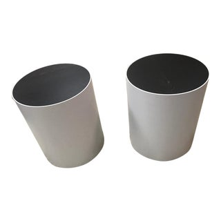 Peter Sandback Modernist Black Oak Drum Tables-a Pair For Sale