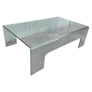 20th Century Mid-Century Modern Rectangular Curved Glass Coffee Table For Sale