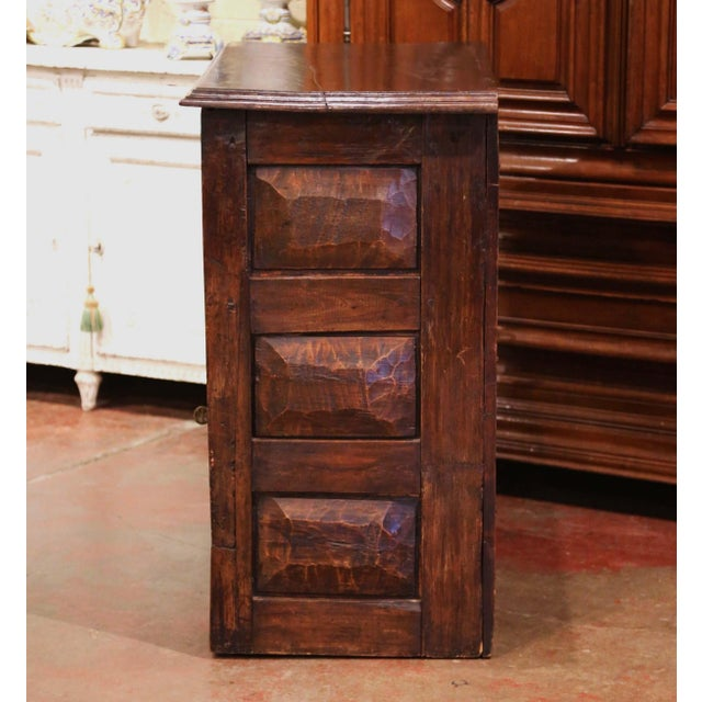 17th Century Spanish Catalan Carved Walnut Two-Door Buffet Cabinet For Sale - Image 11 of 13