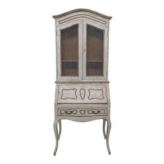 Louis XV Style Distressed White Secretary Desk