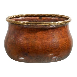 Large Oval Hammered Copper Jardiniere For Sale