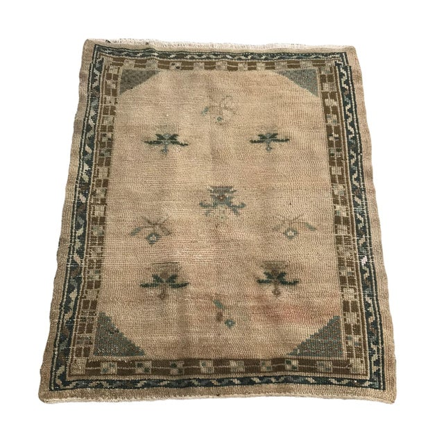 """Hand Made Vintage Turkish Area Rug- 3'3""""x4'2' For Sale - Image 10 of 10"""
