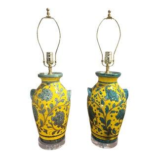 Mid-Century Italian Ceramic Lamps - a Pair