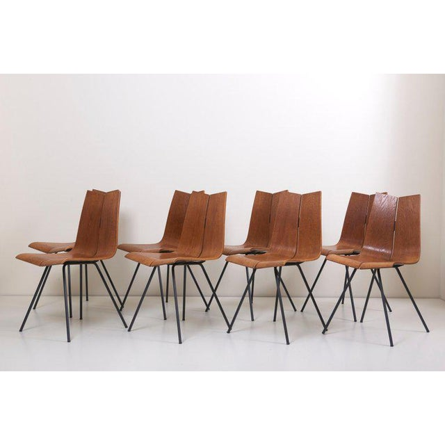 """Brown Set of Eight """"Ga"""" Chairs by Hans Bellmann for Horgen-Glarus, Switzerland, 1950s For Sale - Image 8 of 9"""