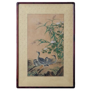 Japanese Ducks Rice Paper Painting, 19th Century For Sale