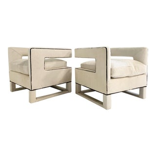 Cube Lounge Chairs in Brazilian Cowhide - A Pair For Sale