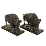 Image of Antique Bronze Buffalo Bookends - A Pair For Sale