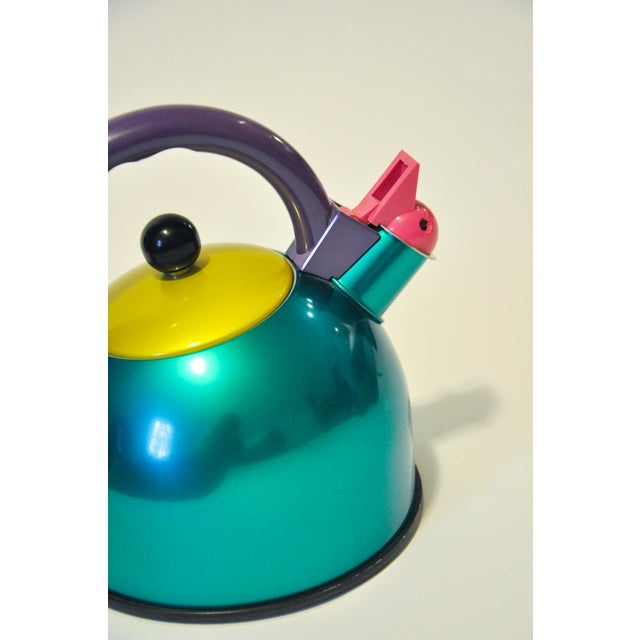 A wonderful 1980s Memphis style teapot in a color block pattern. This fun piece will add a nice 'pop' to any kitchen. A...
