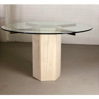 1980s Modern Artedi Round Travertine Stone and Glass Dining Table Preview