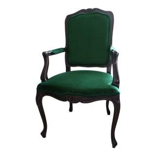 Reupholstered Italian Green Velvet Bergere Chair