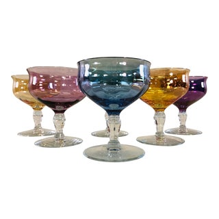 Vintage Multi Colored Low Glass Coupes, Set of 6 For Sale