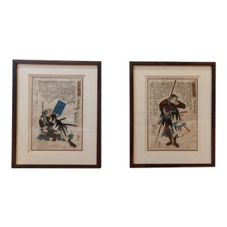 Mid 19th Century Antique Ronin Utagawa Kuniyoshi Japanese Edo Woodblock Prints - A Pair For Sale