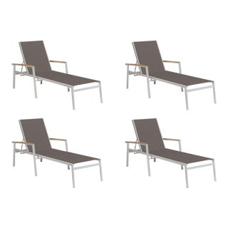 Outdoor Sling Chaise Lounge, Natural and Cocoa (Set of 4) For Sale