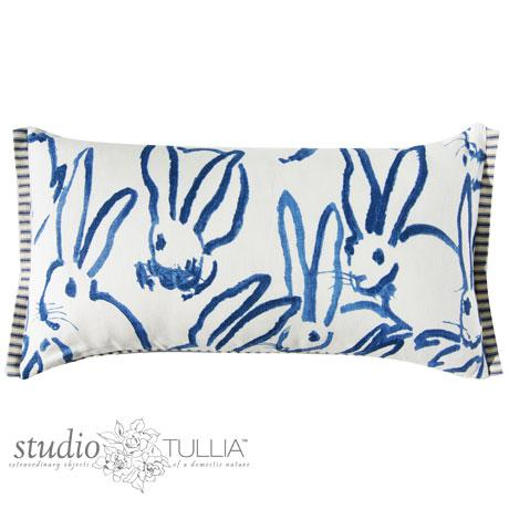 This whimsical bunny printed fabric is called Hutch Print in navy by Groundworks for Kravet. The back side has...