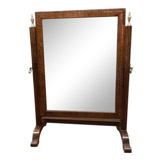 Antique Wood Frame Makeup or Shaving Mirror on Stand For Sale