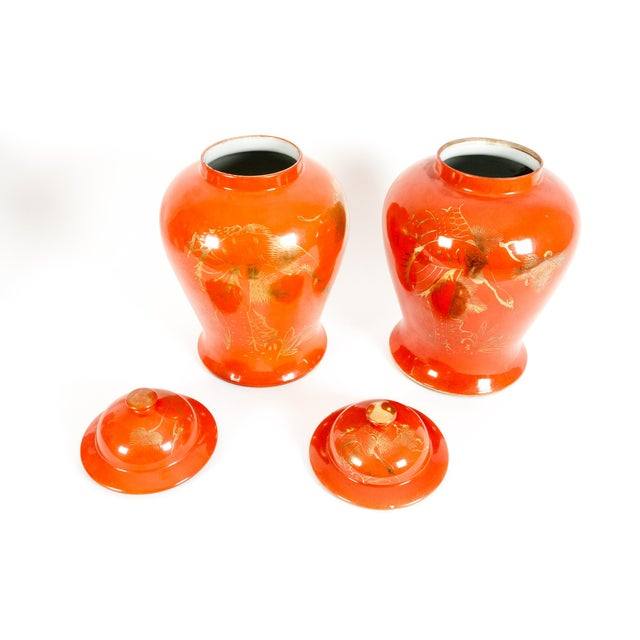Oriental Porcelain Decorative Covered Urns - a Pair For Sale - Image 4 of 13