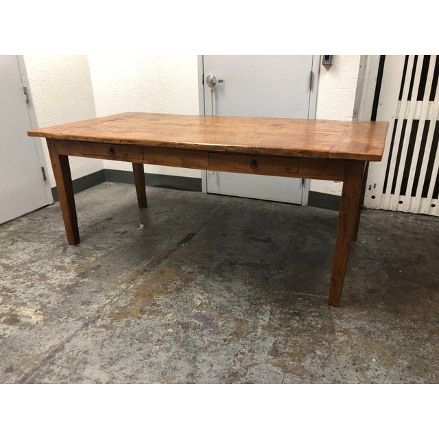 Boho Chic Rustic Reclaimed Two Drawer Farm Table For Sale - Image 3 of 10