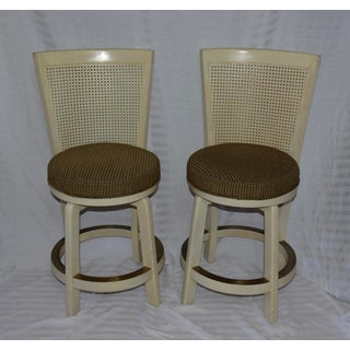 Hollywood Regency Cane High Back Round Swivel Seat Barstools - a Pair Preview