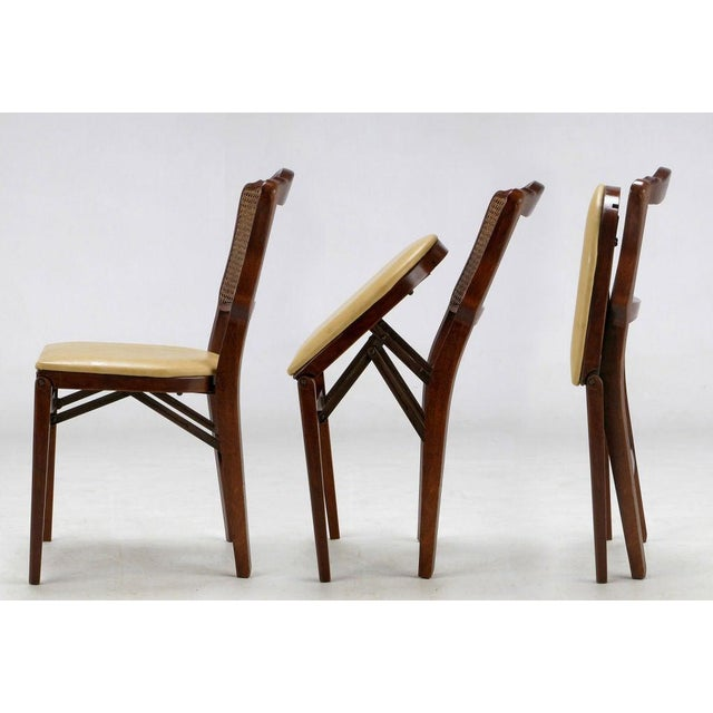 White Set of Four Mahogany, Cane & Leather Regency Folding Chairs For Sale - Image 8 of 11