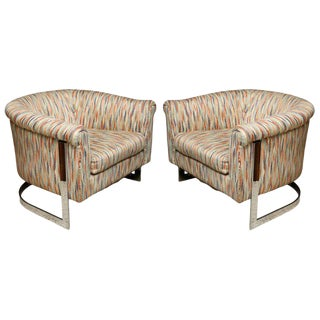 Pair of Milo Baughman Polished Chrome Club Chairs For Sale