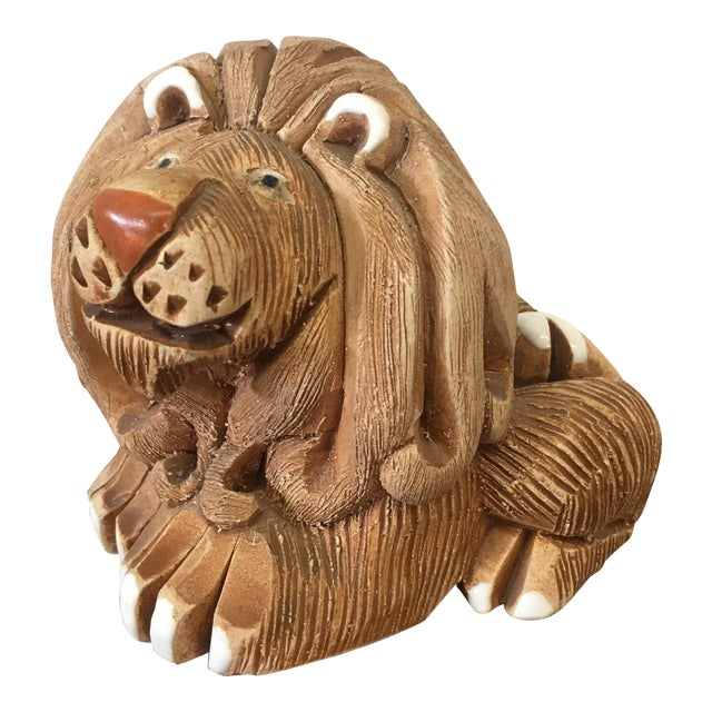 Mid-Century Clay Lion Sculpture - Image 1 of 10