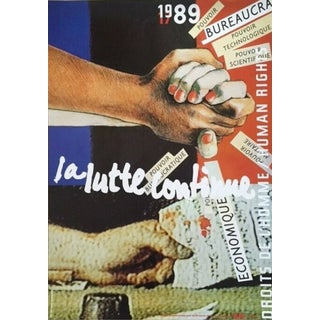 1989 Original Poster for Artis 89's Images Internationales Pour Les Droits De l'Homme Et Du Citoyen - La Lutte Continue For Sale