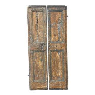 Late 18th Century Italian Antique Painted Rustic Doors - Set of 2