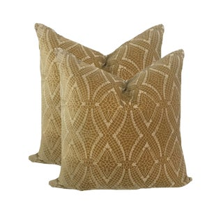 Art Deco Embroidered Tan Velvet Pillows - a Pair For Sale