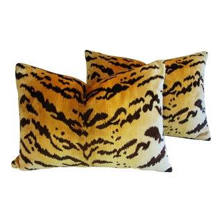 Italian Scalamandre Le Tigre Tiger Stripe & Mohair Pillows - A Pair
