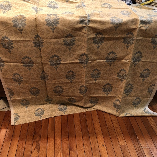 Caspian Hand Printed Small Floral Fabric For Sale - Image 4 of 5