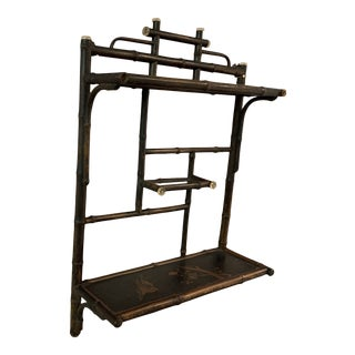 Vintage Chinese Brown and Black Bamboo Wall Shelf For Sale
