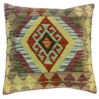 "Claretha Gray/Lime Green Hand-Woven Kilim Throw Pillow(18""x18"") For Sale"