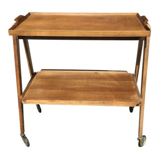 1950s Mid-Century Teak Bar Cart Trolley With Removable Tray For Sale