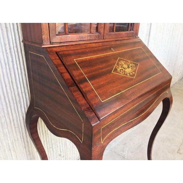 Walnut 18th Century Louis XVI Style French Inlaid Secretary Desk For Sale - Image 7 of 13