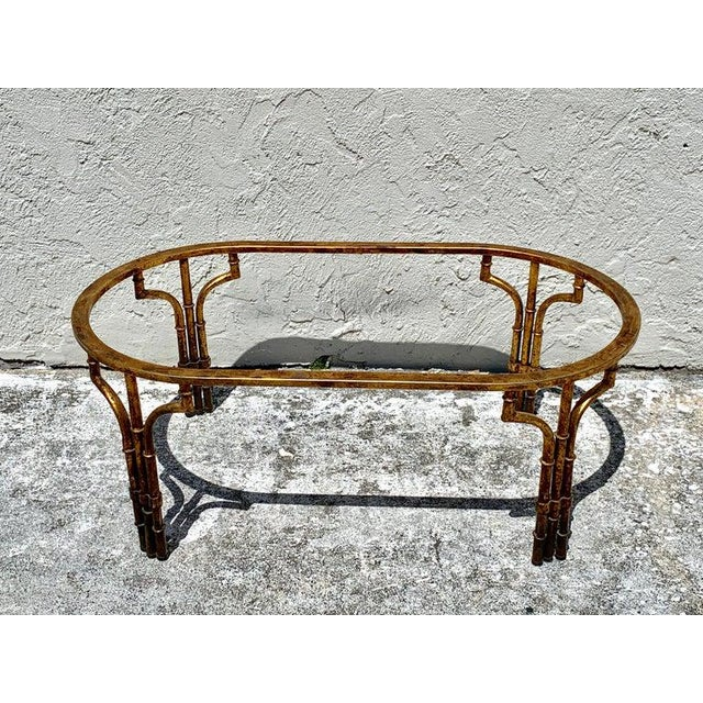 Midcentury Italian Gilt Metal Faux- Bamboo Glass Top Coffee Table For Sale - Image 9 of 10