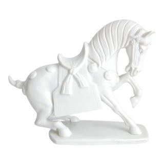 Blanc De Chine Chinese War Horse Statue For Sale