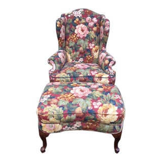 Drexel Heritage Wing Chair & Ottoman For Sale