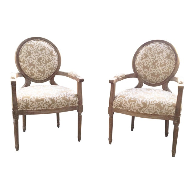 Whimsical Otomi Print Chairs - a Pair For Sale