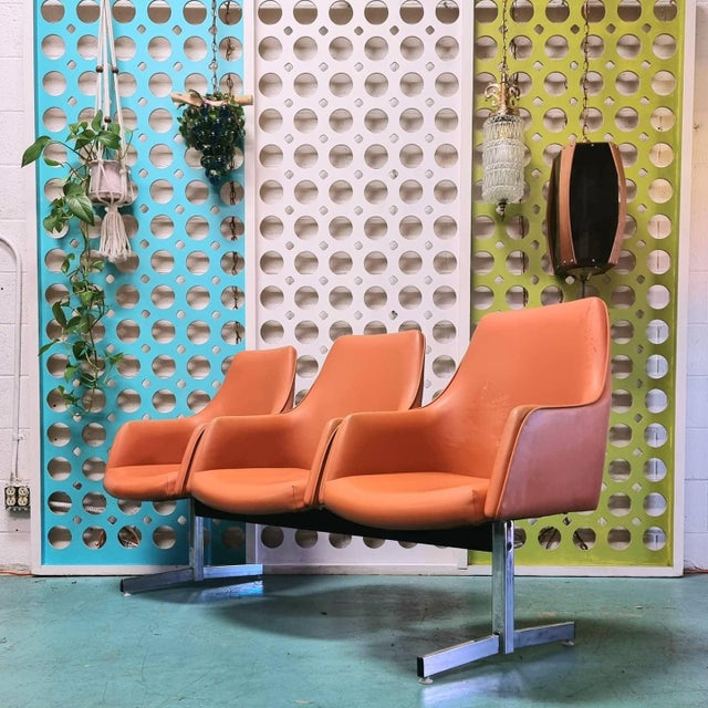 Orange Mid Century Tandem Bench by Jansko of California For Sale - Image 8 of 8