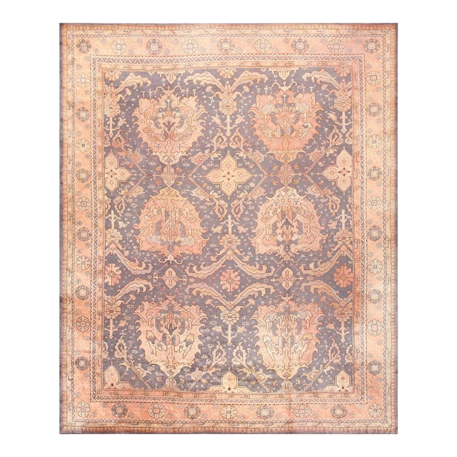 Large Scale Antique Turkish Oushak Rug - 12′3″ × 14′6″ For Sale