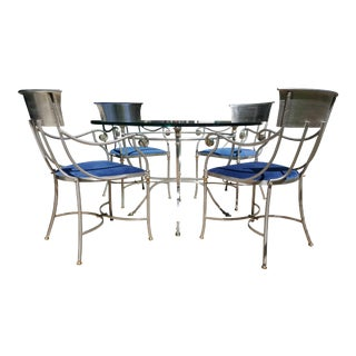 1960s Maison Jansen Bronze and Iron Gueridon Table Dining Set - Set of 5 For Sale