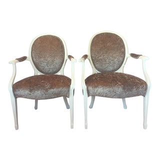 Louis XV Birch and Velvet Upholstered Fauteuil Chairs - a Pair For Sale