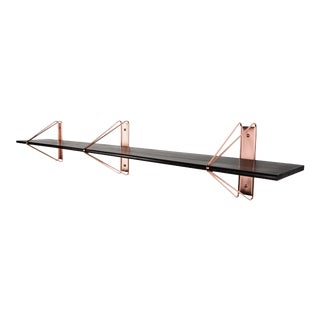 "Modern Copper and Ash Painted Black Strut Shelving - 84"" For Sale"