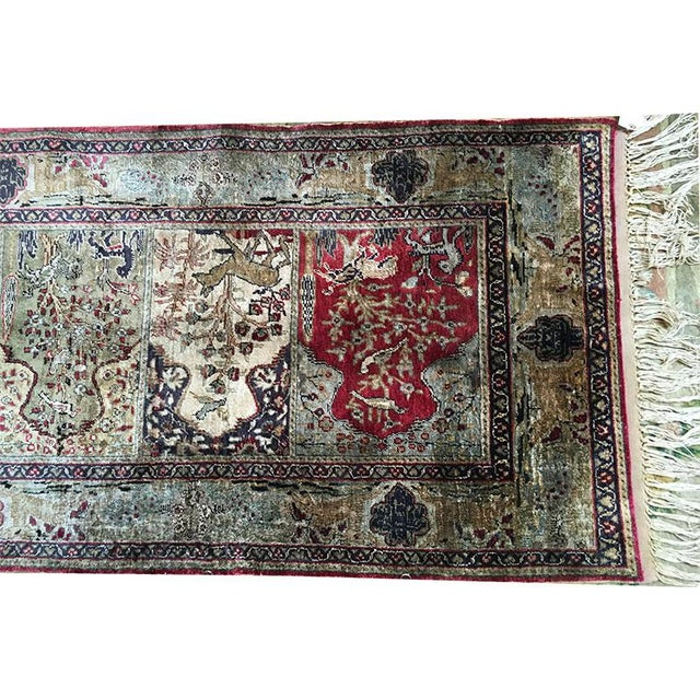 Early 20th Century Antique Silk Turkish Saph Runner Rug - 2′7″ × 8′ For Sale In Los Angeles - Image 6 of 9