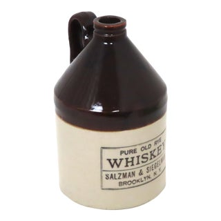 Small Size Antique American Stoneware Rye Whiskey Jug For Sale