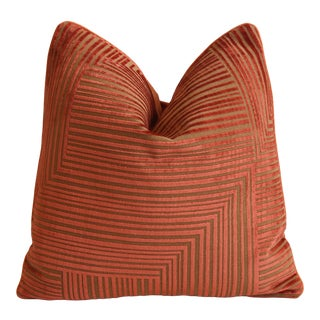 """Designer Donghia Modern Abstract Velvet Feather/Down Pillow 21"""" Square For Sale"""
