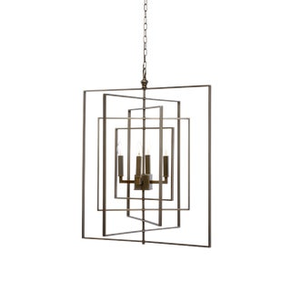 Cube Chandelier in Bronze For Sale