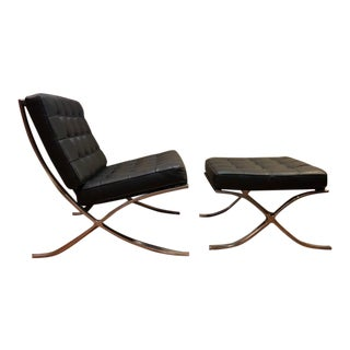 Barcelona Mies Van Der Rohe Pavilion Chair & Ottoman For Sale