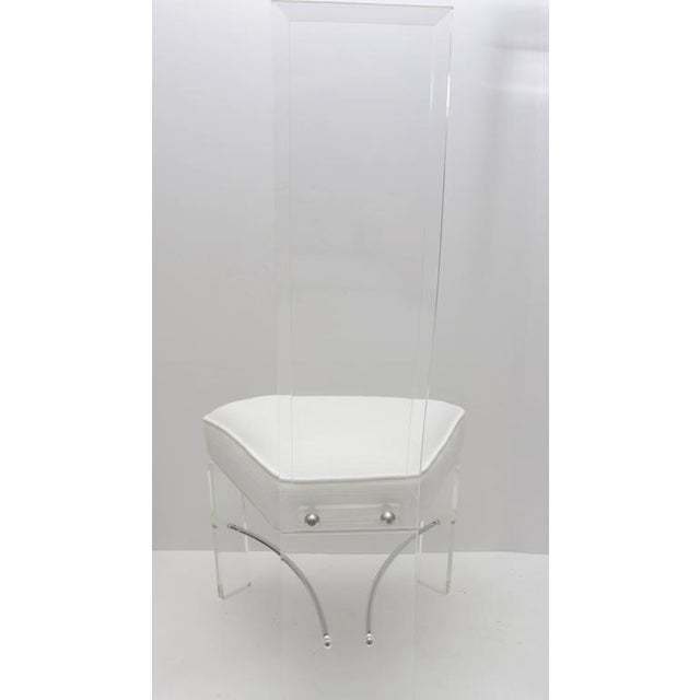 Acrylic Lucite & Chrome Dining Chairs With White Upholstery - Set of 6 For Sale - Image 7 of 9